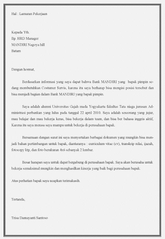 Contoh Surat Lamaran Kerja Customer Service