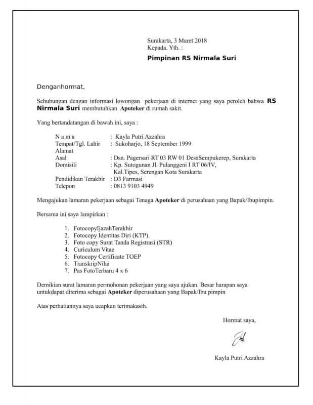 Contoh Surat Lamaran Kerja Farmasi