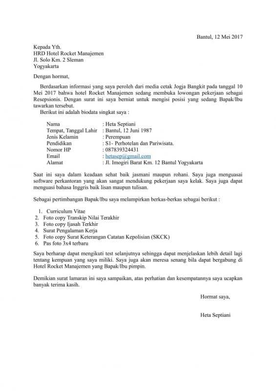 31 Contoh Surat Lamaran Kerja Yg Baik Dan Benar Doc Word