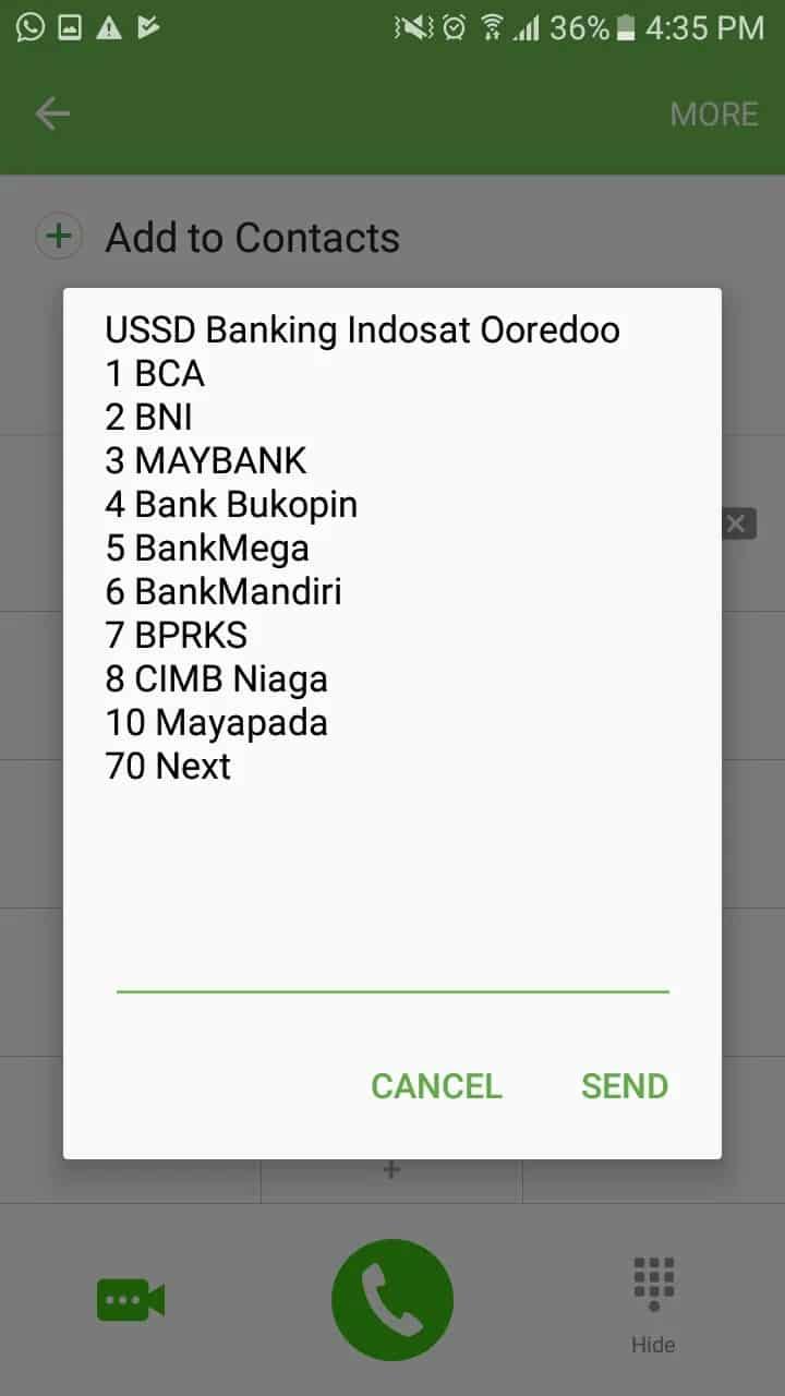 Akan muncul menu perbankan yang bisa dipilih, karena Anda menggunakan Bank Mandiri, pilih angka 6