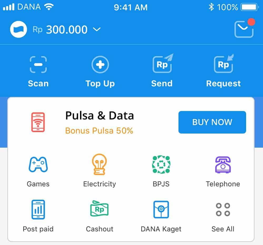 Buka aplikasi Dana di smartphone lalu pilih opsi Listrik