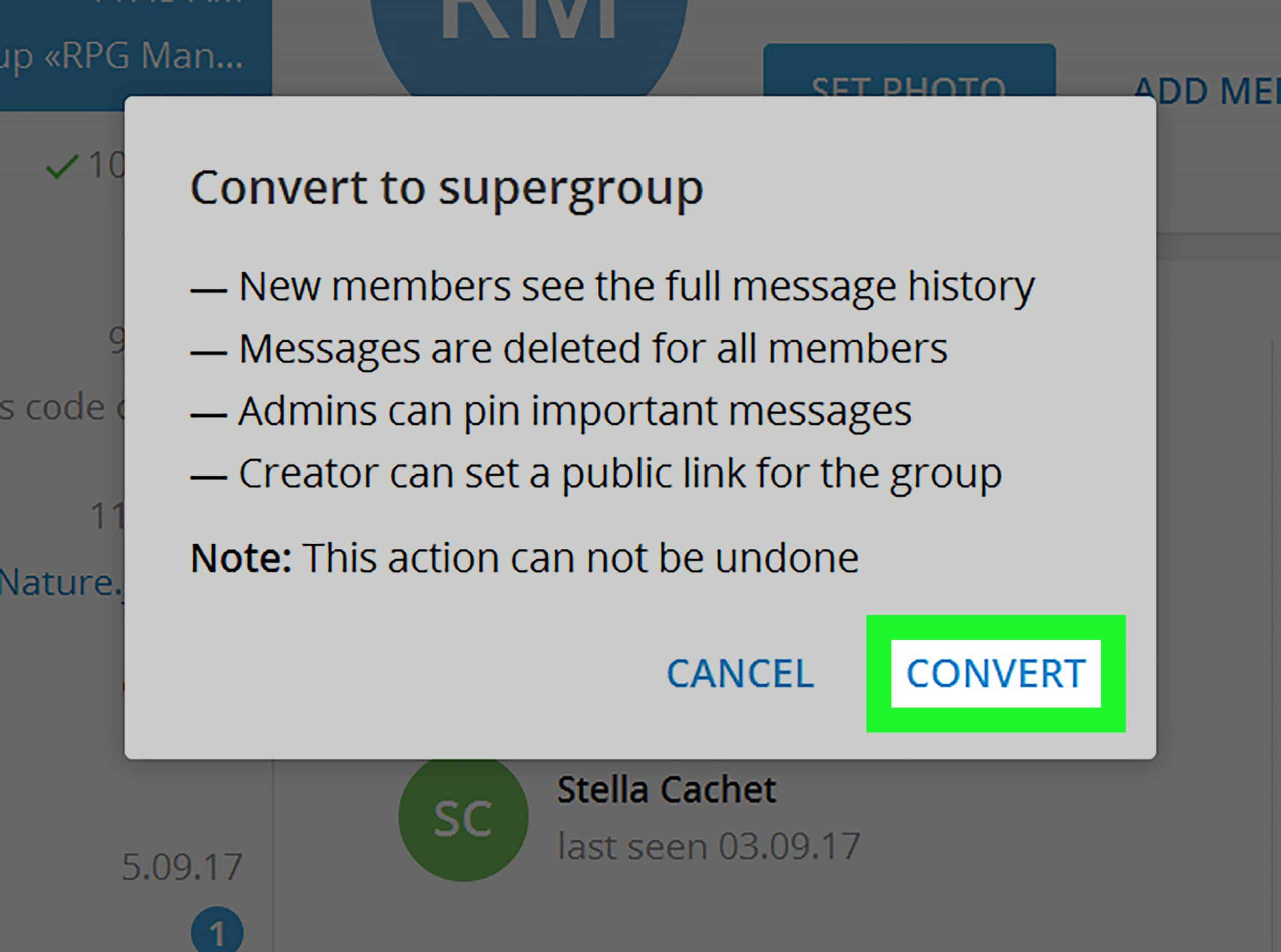 Klik pilihan Manage Group, lalu Upgrade to Supergroup