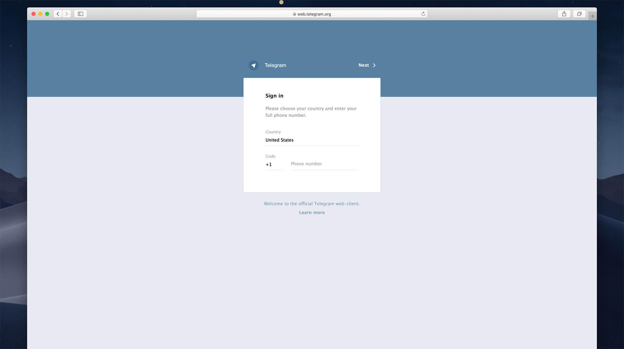 Login menggunakan nomor HP yang telah didaftarkan di Telegram. Pada langkah ini, pastikan setting lokasi yang dipilih adalah Indonesia