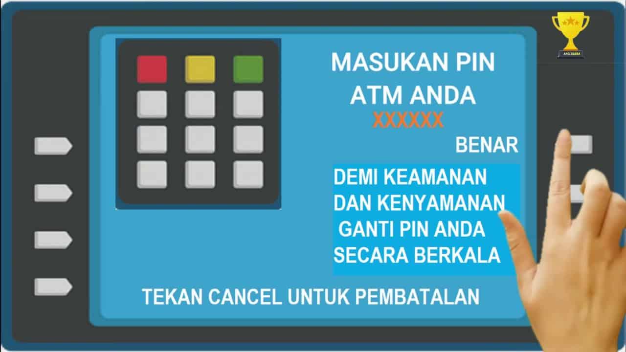 Masukkan kartu debit ATM di tempat yang disediakan dan masukkan PIN ATM untuk bisa memulai transaksi