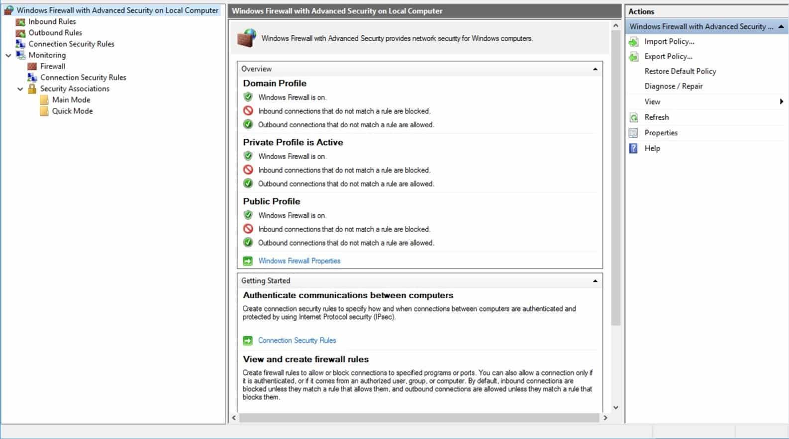 Menggunakan Menu Advanced Firewall Settings