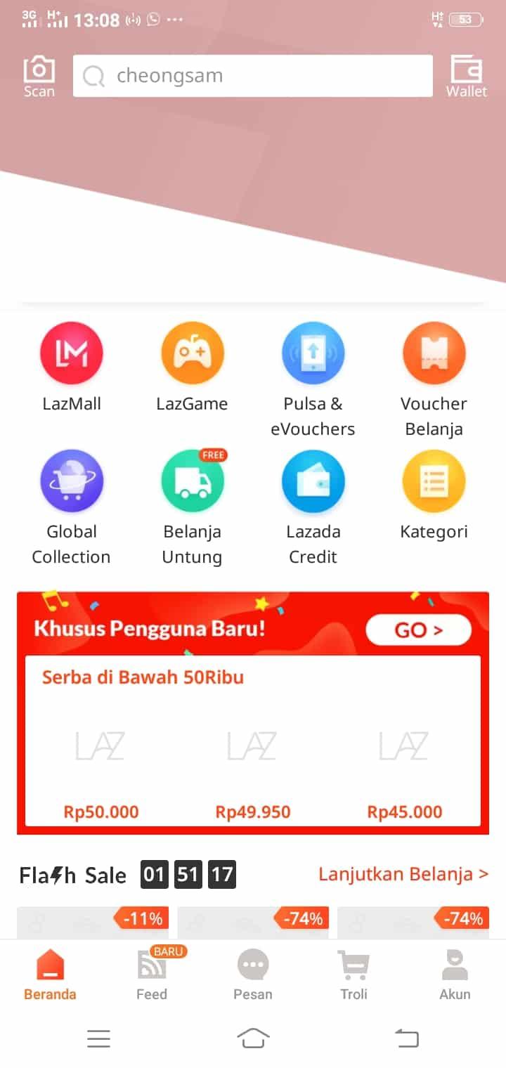 Pada tampilan awal home Lazada, klik pilihan menu Top Up & Tagihan