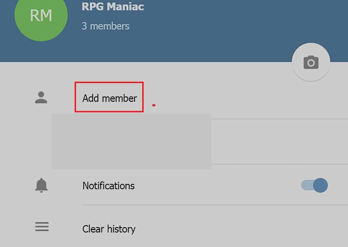 Pilih menu Add member.