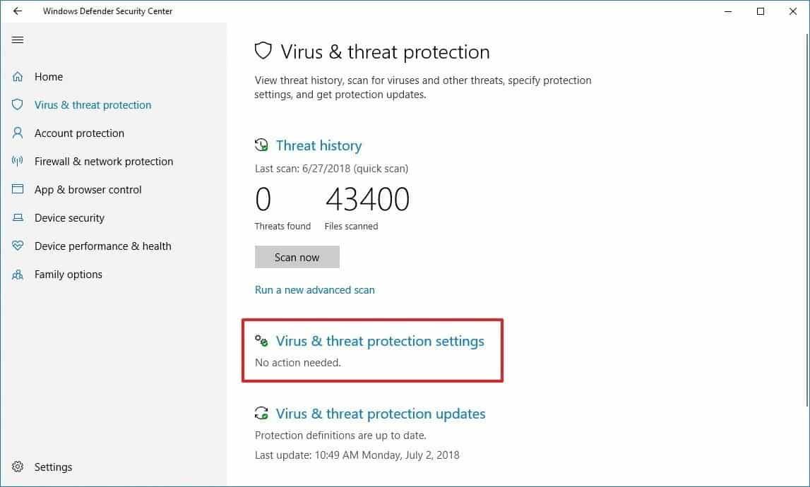 Pilih menu Virus & threat protection, kemudian Virus & threat protection updates