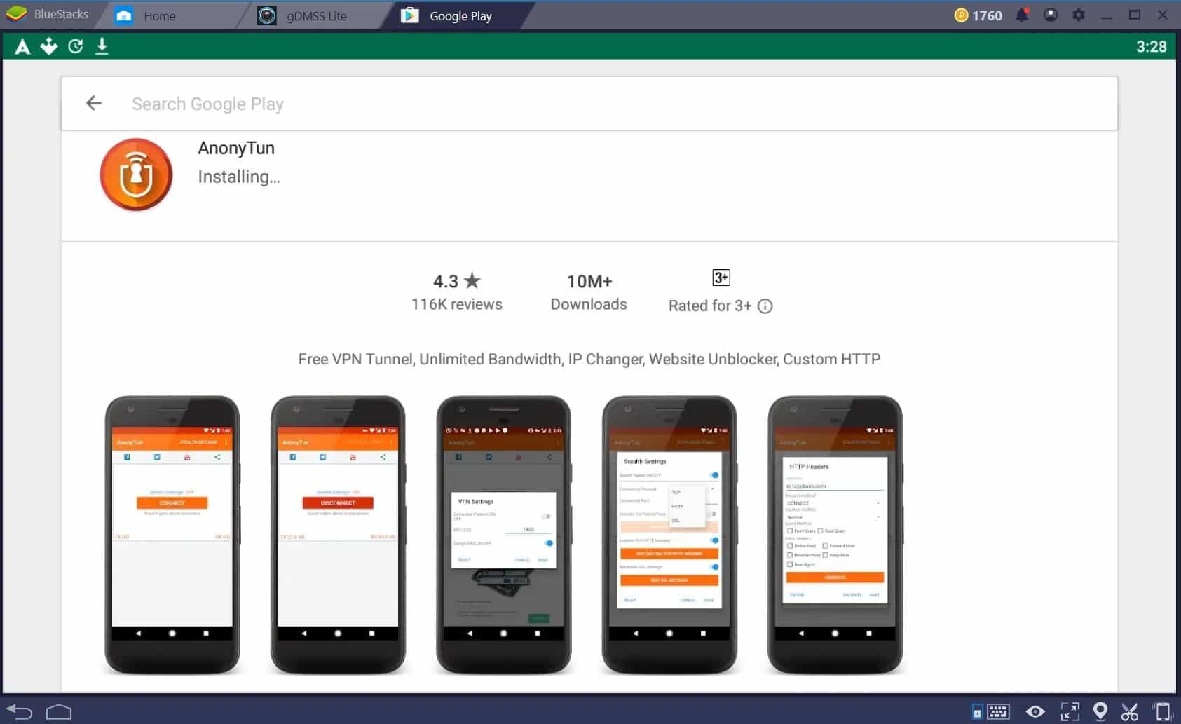 Anda bisa masuk ke platform Google Playstore yang ada di perangkat HP Android, lalu masukkan keyword Anonytun di kolom pencarian