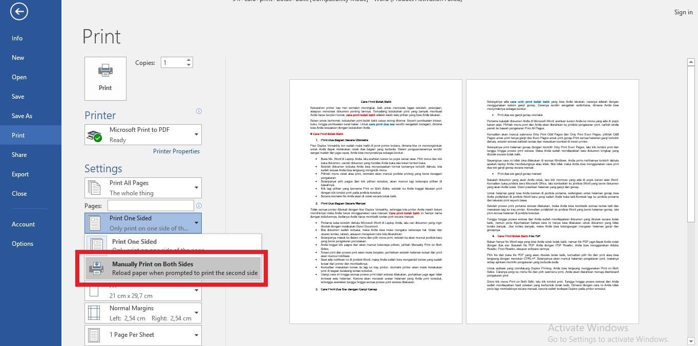 Anda tinggal klik pages dan akan muncul beberapa pilihan, pilihlah Manually Print on Both Sides