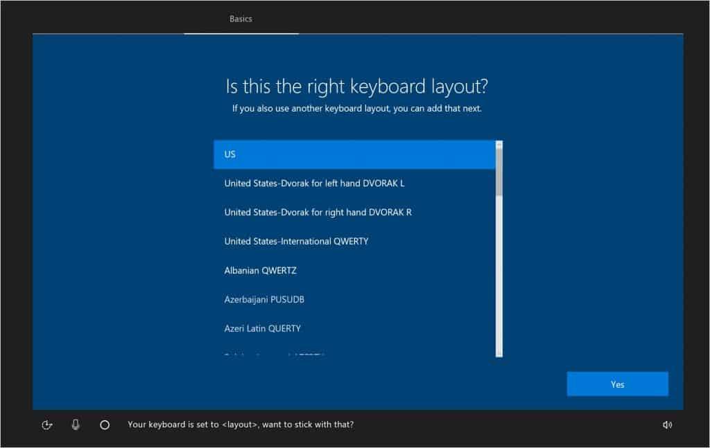 Atur layout keyboard yang digunakan pada bagian Keyboard Layout dan pilih US untuk menggunakan QWERTY
