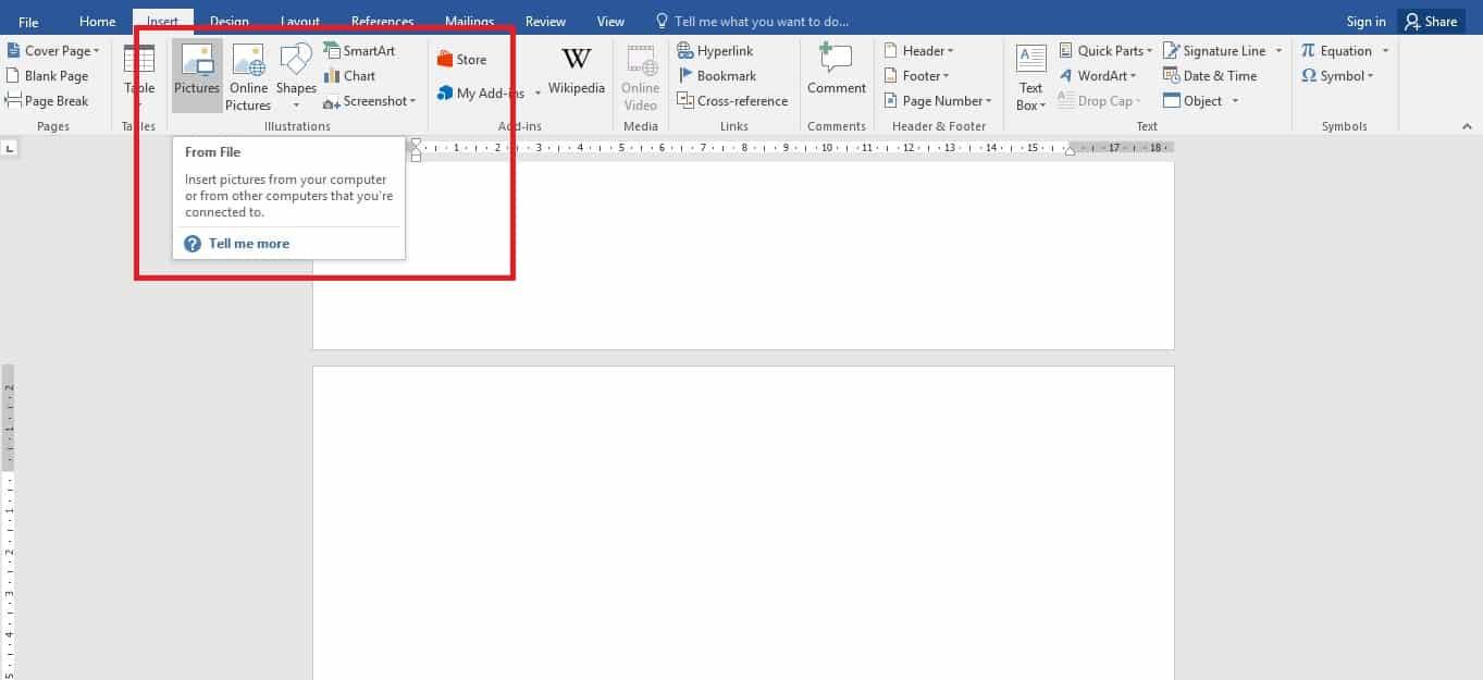 Buka menu Insert lalu klik Picture