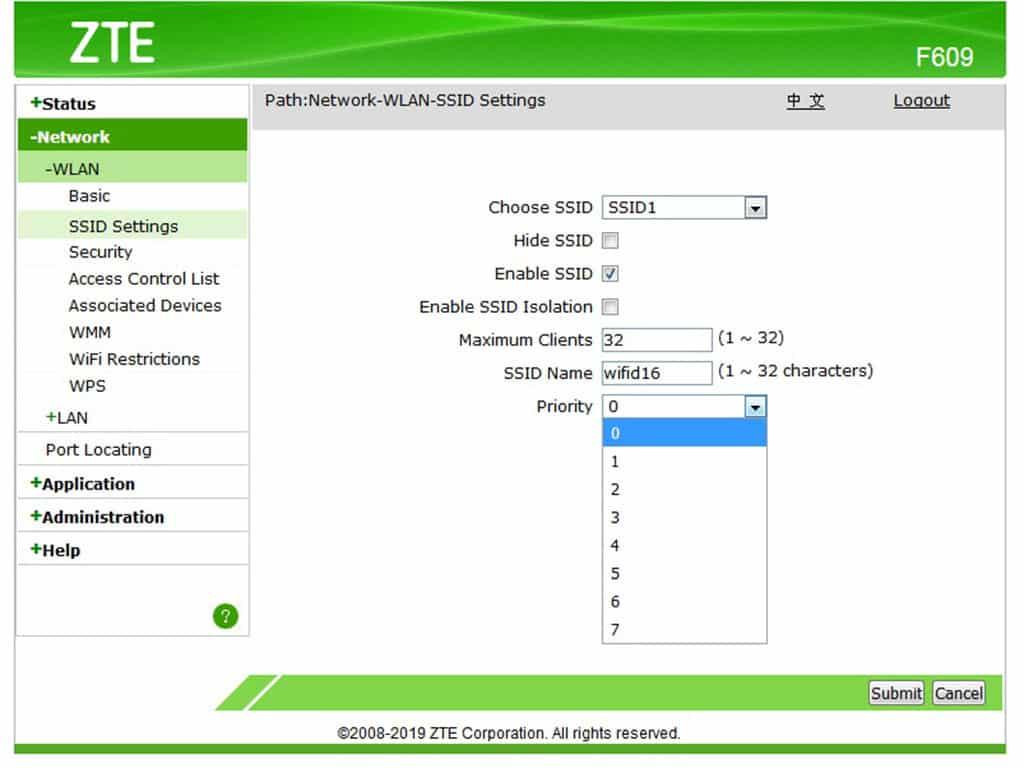 Buka pilihan SSID Settings