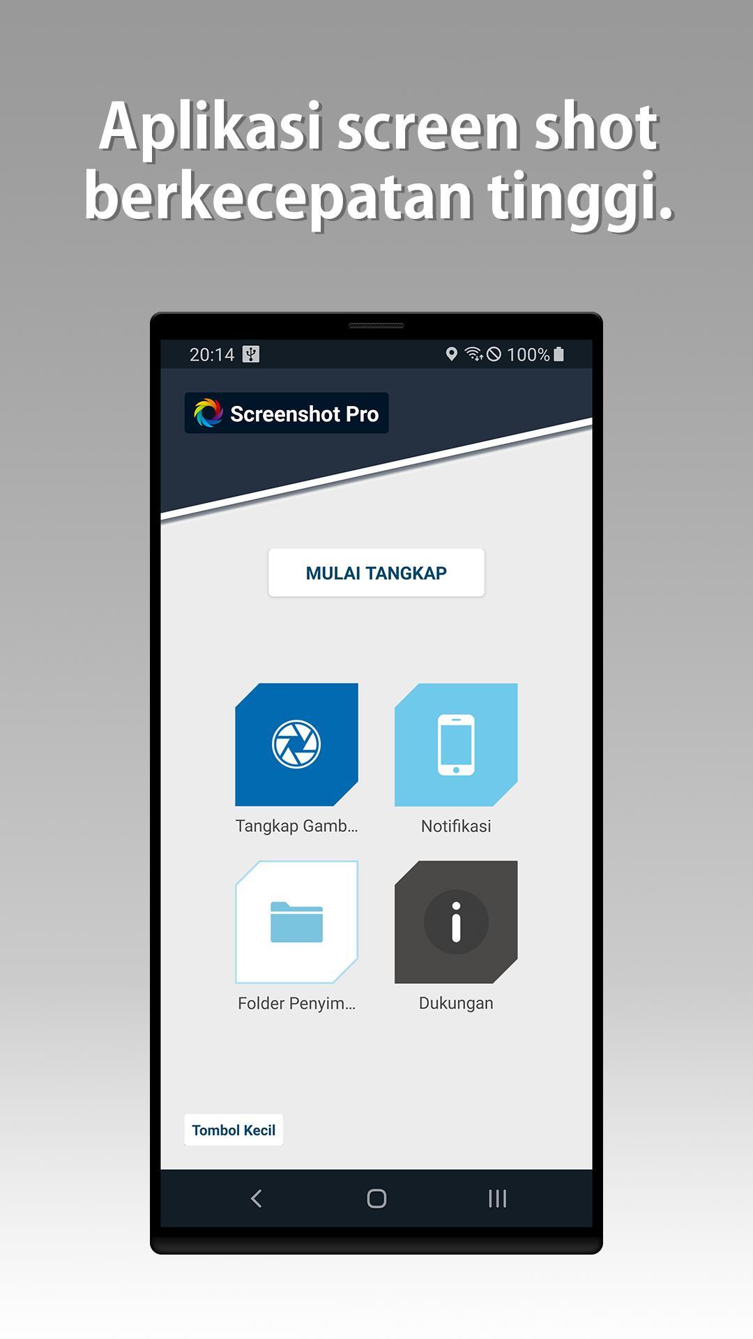Di sini Anda bisa mengaktifkan aplikasinya, lalu akan muncul tombol screenshot yang berupa menu bar, icon, ataupun dalam bentuk notifikasi bar