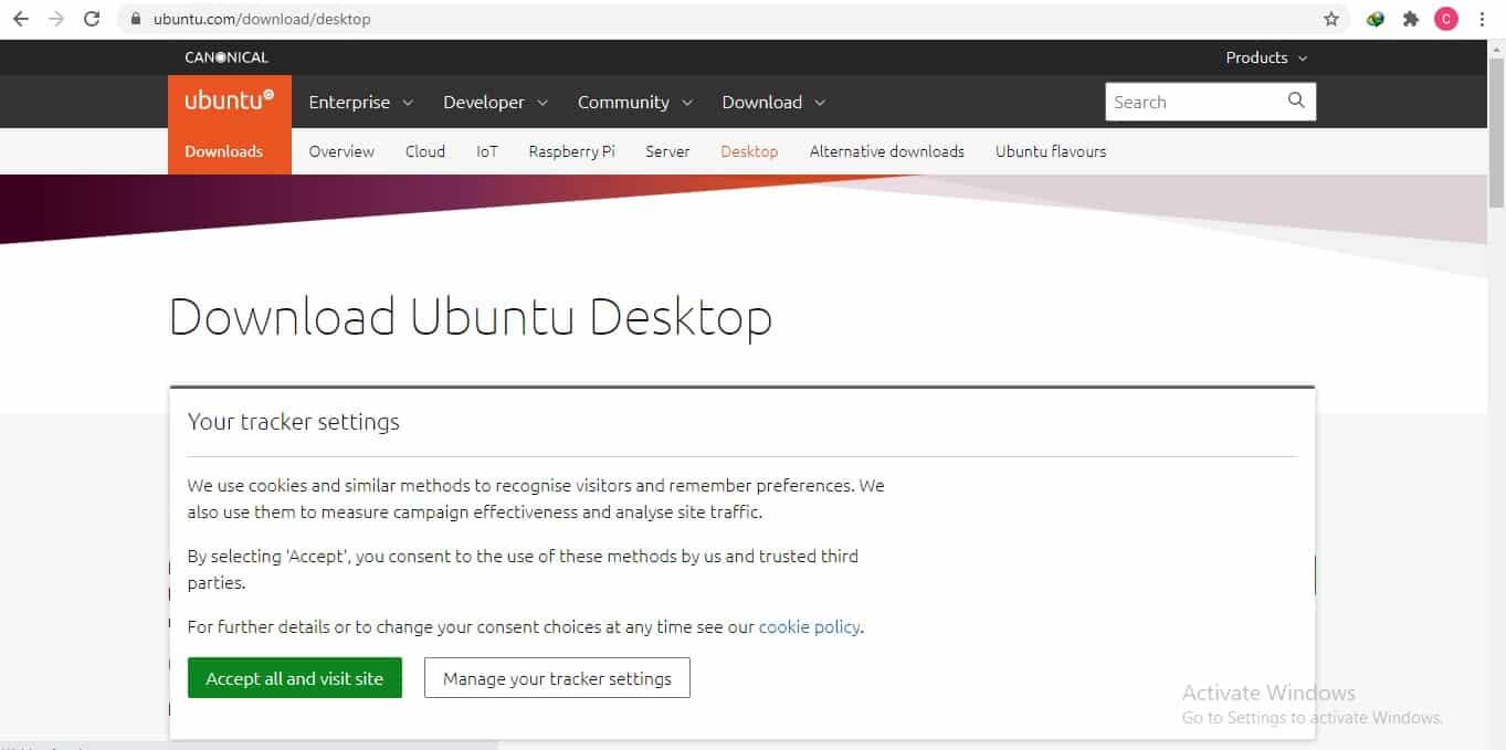 Download file instalasi Ubuntu 2004 yang bisa didapatkan di website resmi Ubuntu