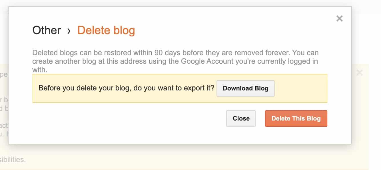 Jika menyetujui resikonya klik Delete this blog
