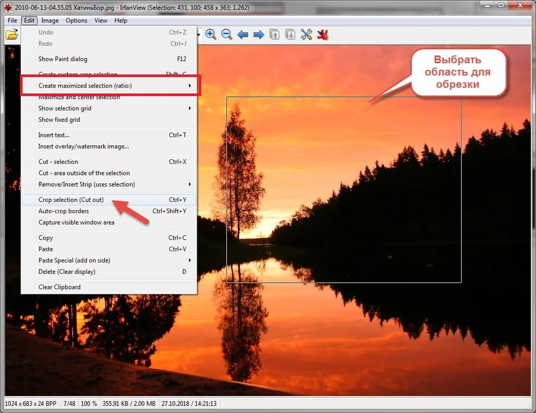 Klik menu Edit, lalu pilih Create maximized selection ratio