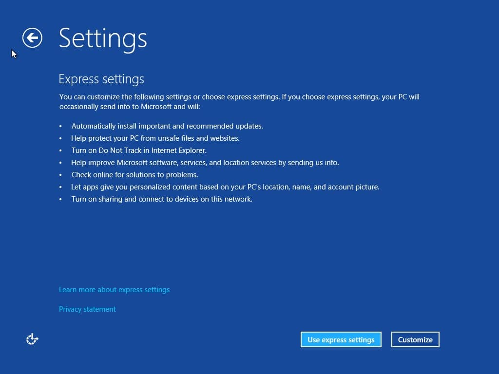 Klik pada pilihan Use express settings