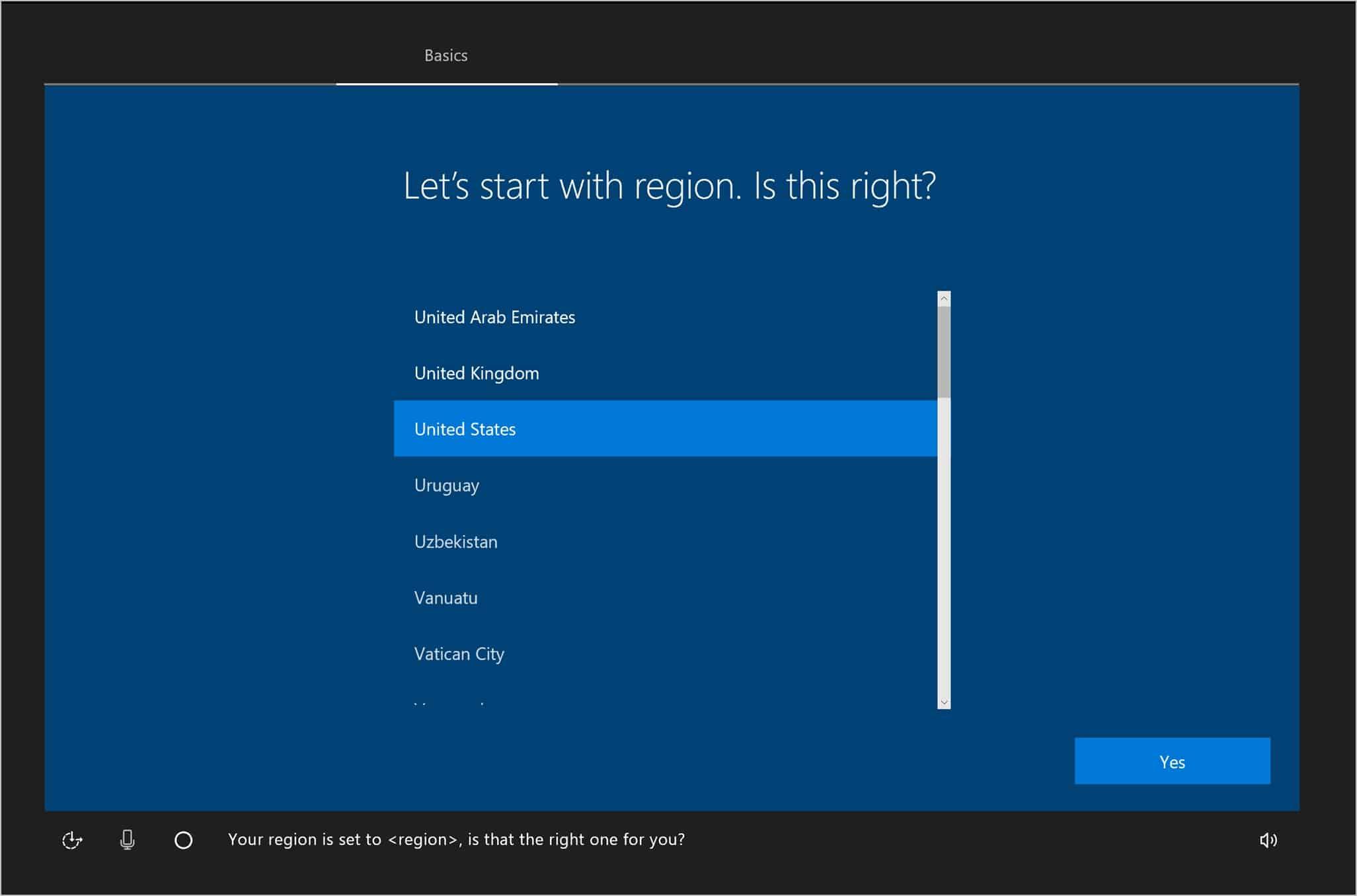 Konfigurasi umum pertama dimulai dengan Lets start with Region. Pilih Indonesia dan klik Yes