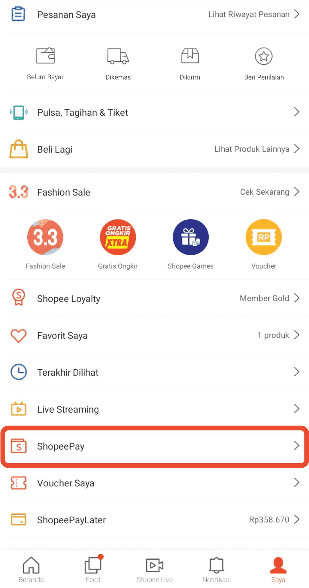 Langkah pertama, Anda harus membuka dahulu aplikasi Shopee