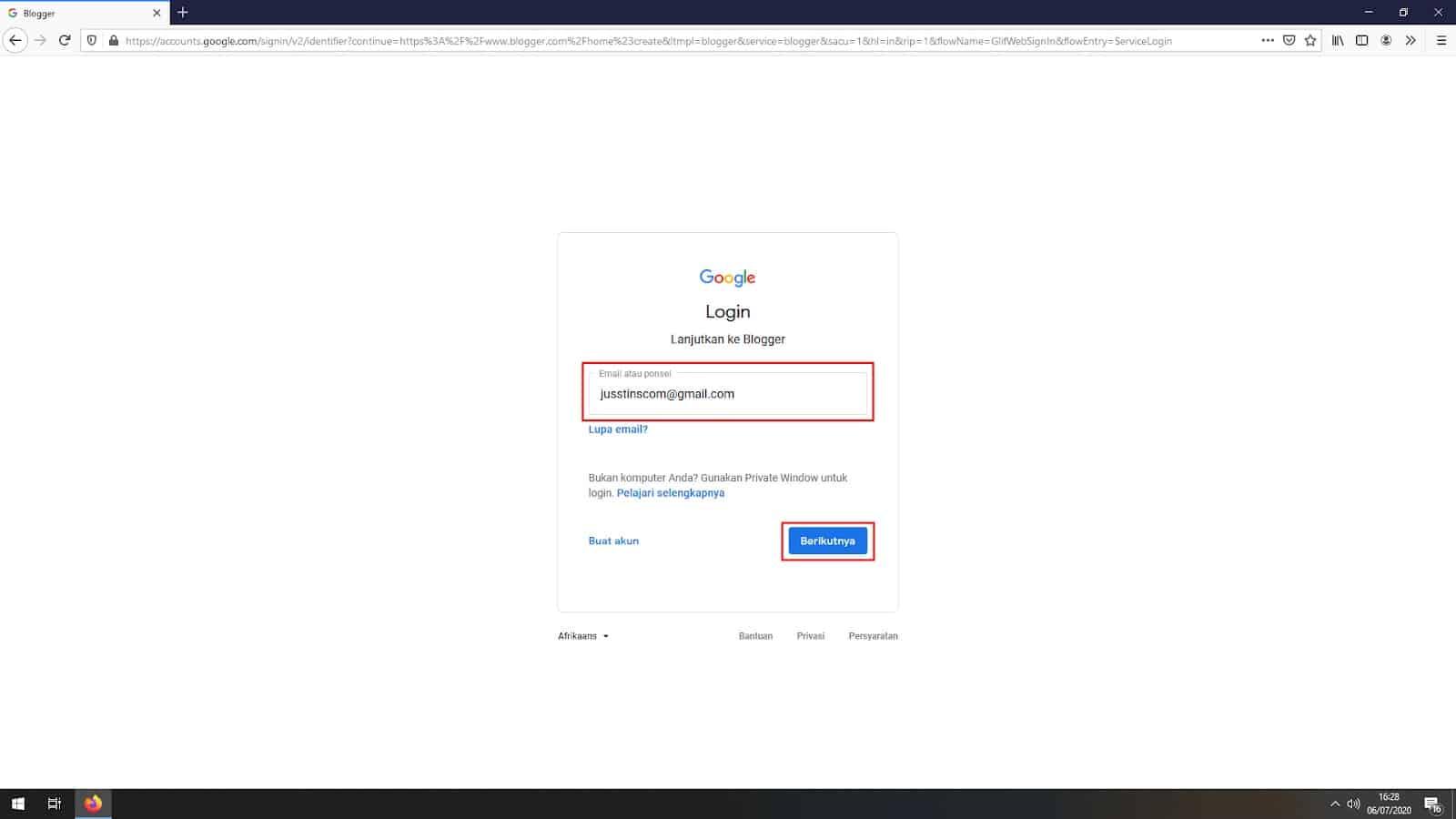 Masukan username dan password