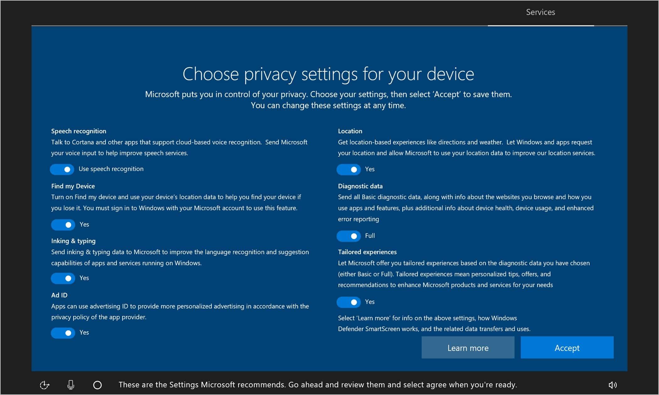 Pada bagian Choose privacy settings for your device, pilih fitur yang ingin diaktifkan lalu klik Accept