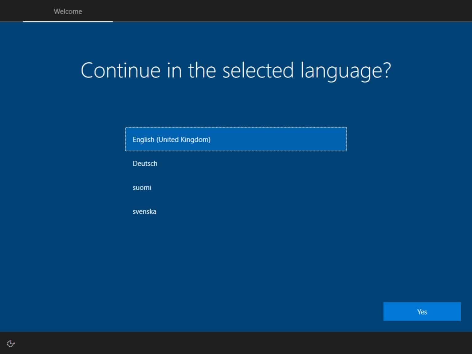 Pada bagian Language to Install, pilih bagian English (United States)