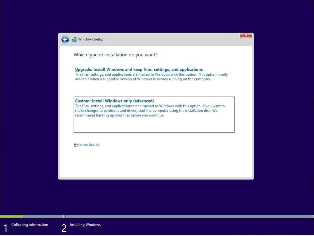 Pada bagian Which type of installation do you want ada 2 pilihan yaitu Upgrade dan Custom. Pilih bagian Custom Install Windows only