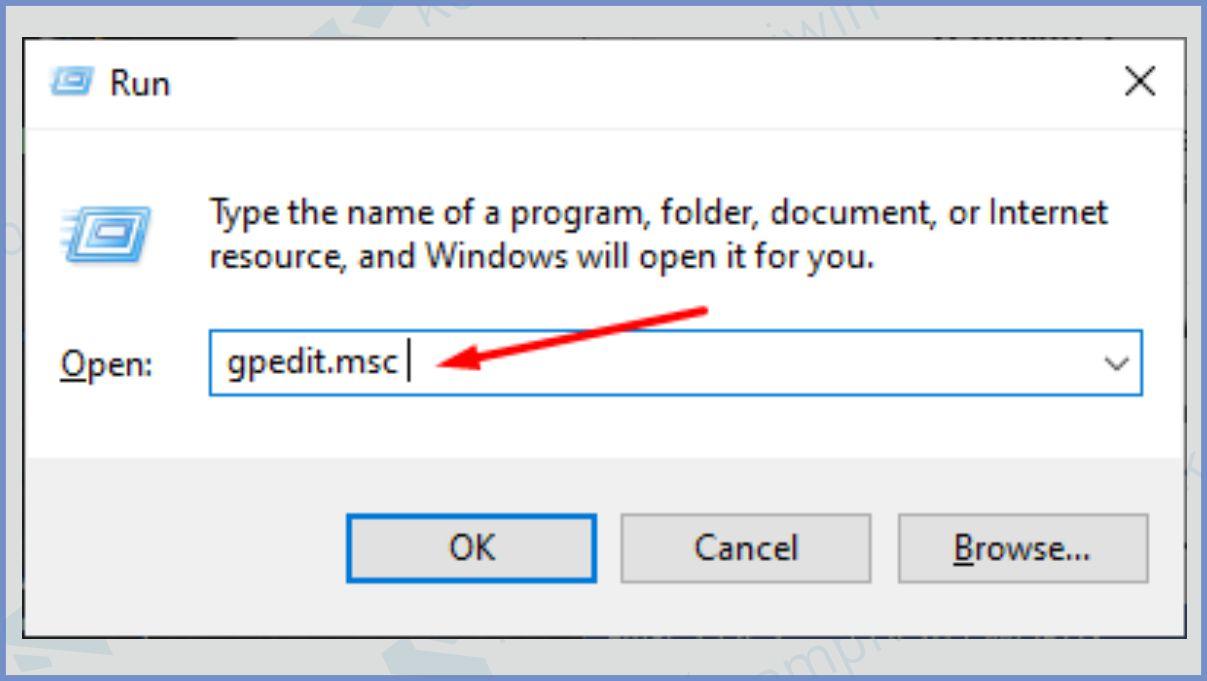 Pada jendela baru ini, Anda diminta untuk memasukkan perintah gpedit msc dan klik OK