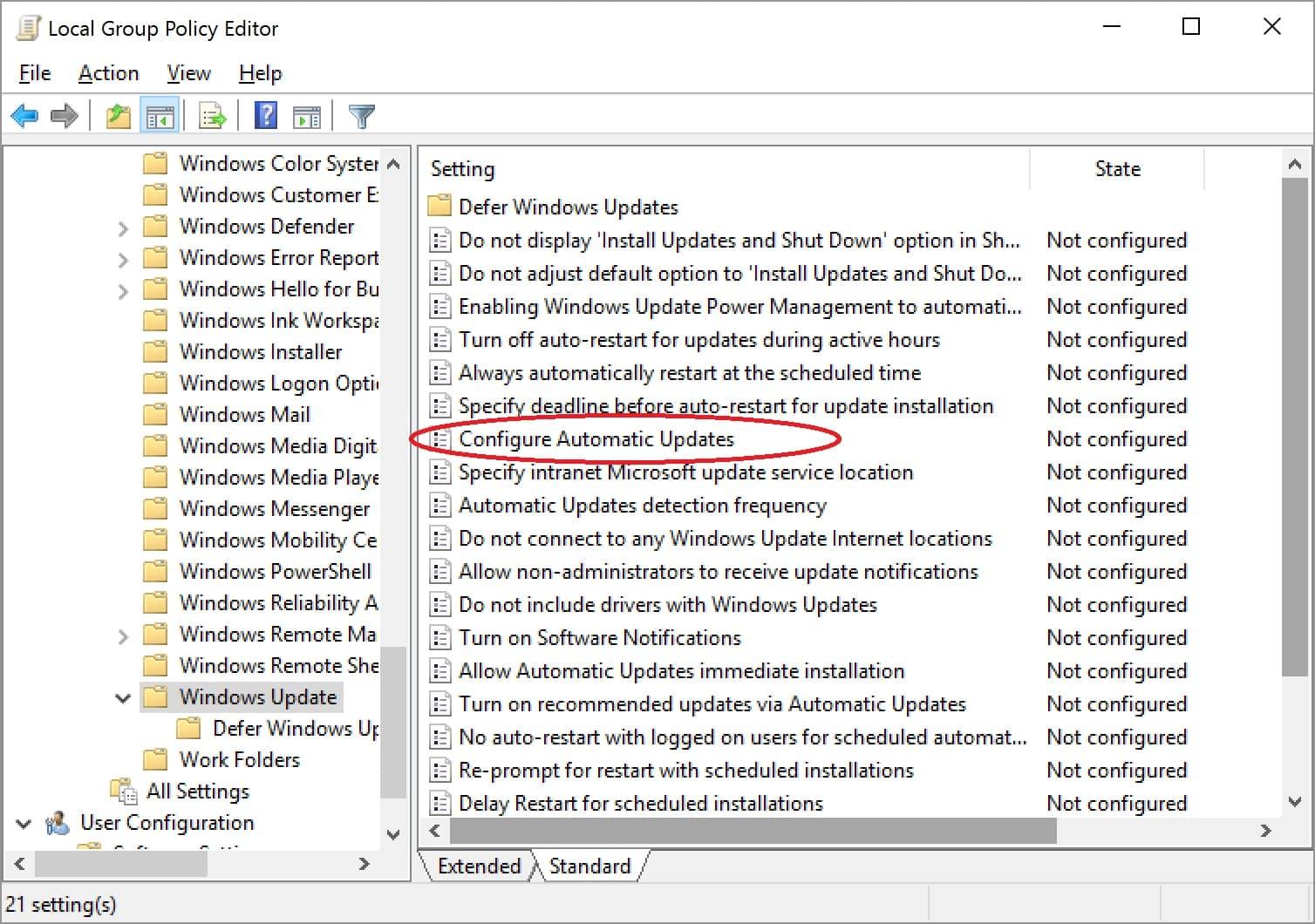 Selanjutnya, akan tampil beberapa tool dan Anda bisa memilih Configure Automatic Update dengan cari klik dua kali pada bagian mouse