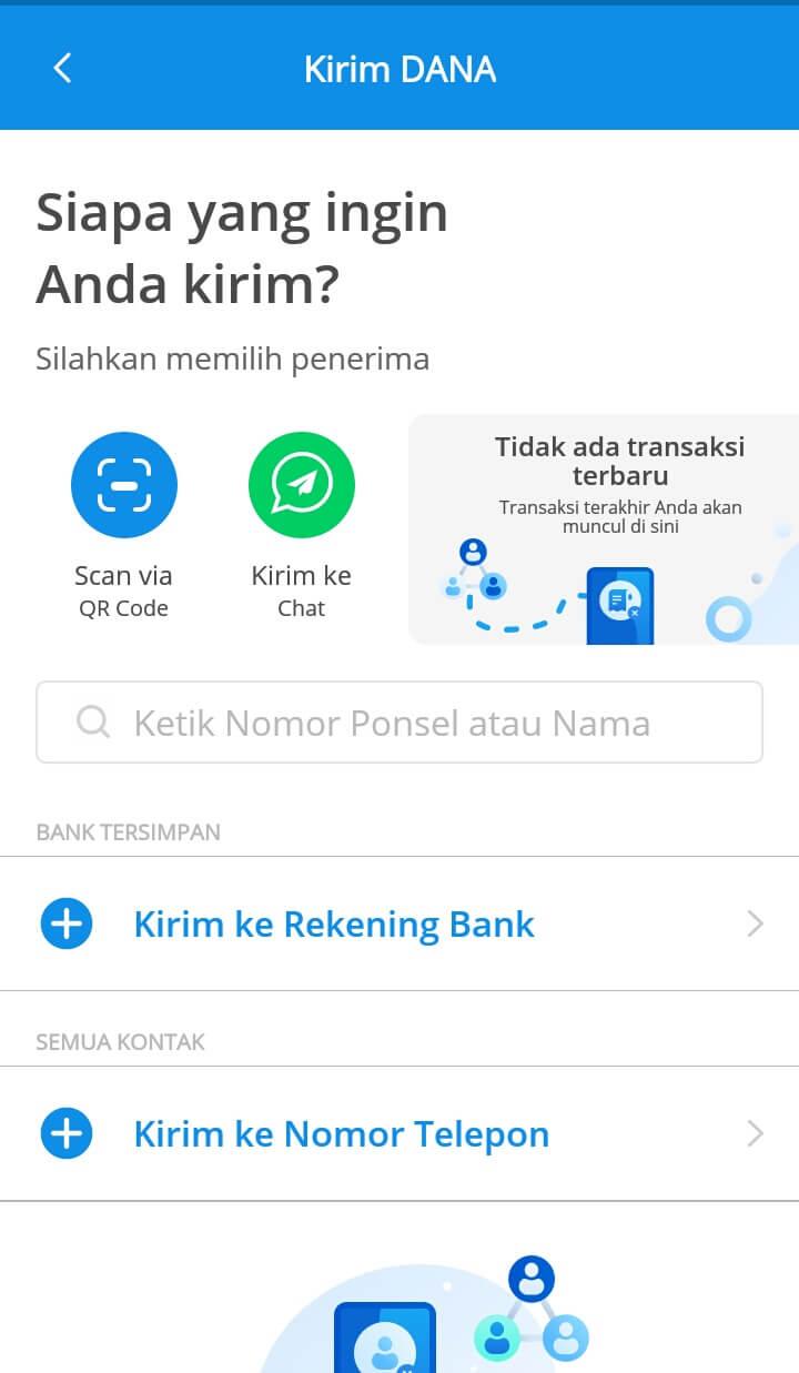 """Selanjutnya jika sudah berada di dalam menu Kirim, Anda bisa menemukan beberapa pilihan dan pilih tulisan """"Kirim ke Chat"""" untuk menikmati pengiriman saldo lewat chat pribadi"""