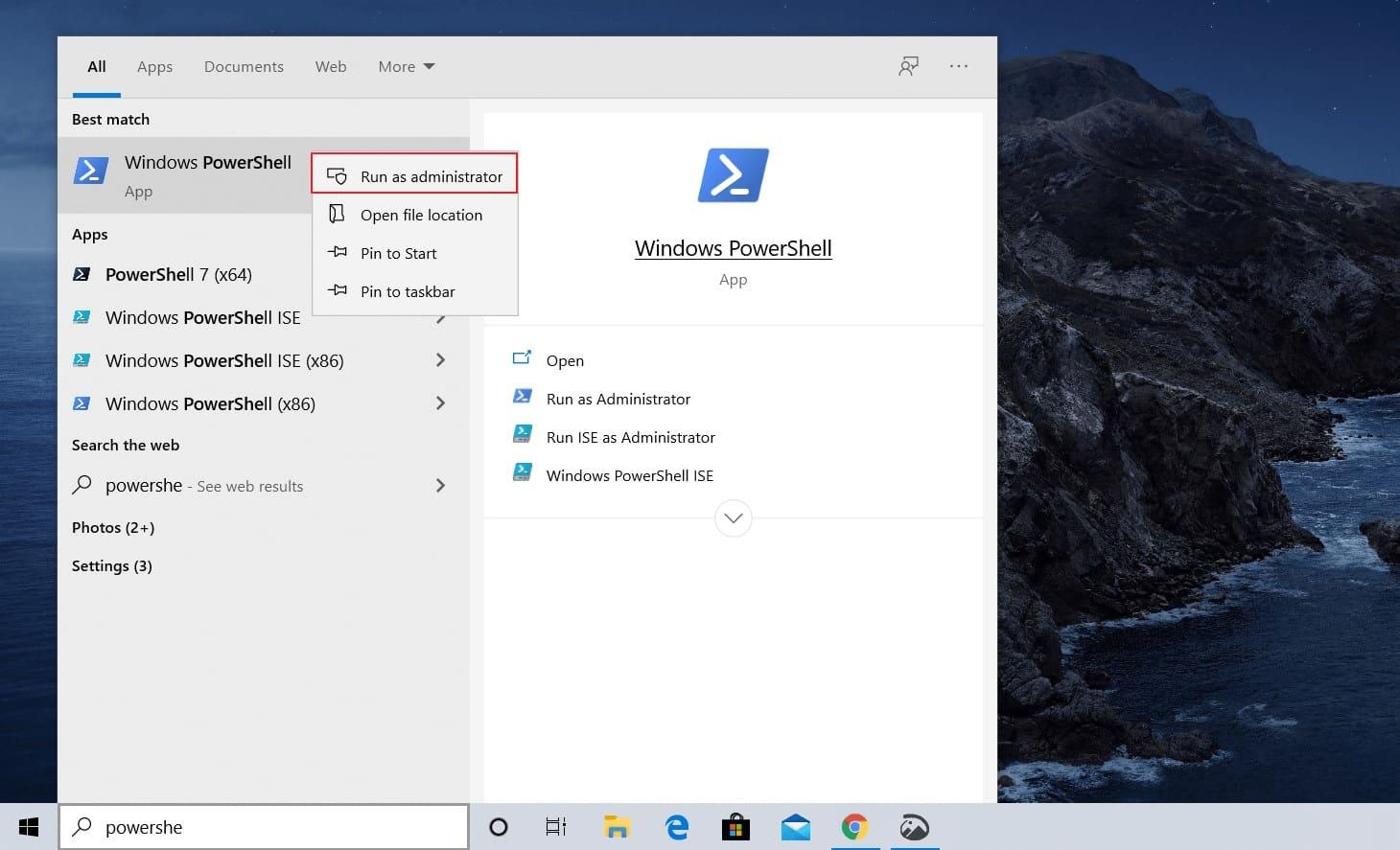 Selanjutnya, pada bagian menu utama Anda bisa melakukan pencarian dengan mengetikan perintah PowerShell dan klik enter pada keyboard