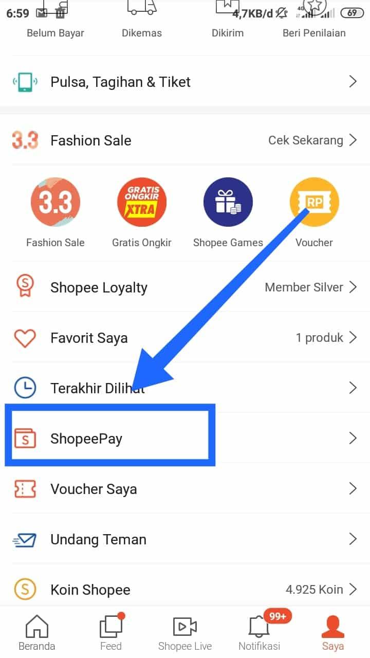 """Tahap selanjutnya klik menu yang bertuliskan """"ShopeePay"""" dan Anda akan langsung masuk ke dalam halaman pengaturan ShopeePay"""