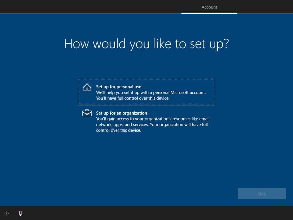 Tentukan kegunaan Windows untuk personal atau organisasi pada bagian How would you like to set up