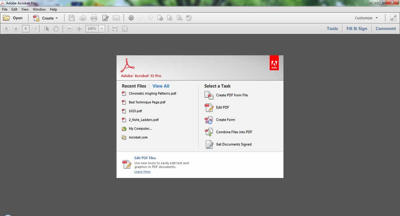 Unduh terlebih dahulu aplikasi Adobe Acrobat di laptop Anda, kemudian bukalah aplikasinya hingga terbuka laman awal Adobe Acrobat